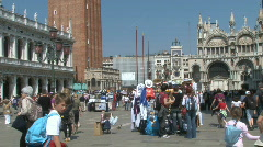 Busy San Marco Saint Mark's Square in Venice, Italy Stock Footage
