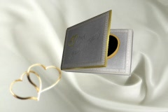 5911L Our Anniversary Gold Hearts White Satin Flowers Album book Closing - stock footage