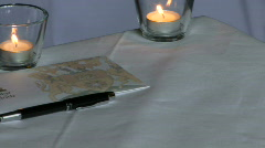 Stock Video Footage of Marriage Certificate on table at wedding reception
