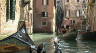 On a Romantic Venetian Gondola in Venice, Italy in Europe Stock Footage