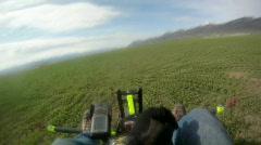 Ultralight take off farm field GP 0179 Stock Footage