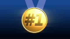 T187 gold medal winner win blue ribbon Stock Footage