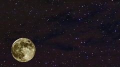 Arising Moon with Stars behind and Haze in Front 2, HD - stock footage