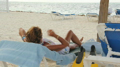 Mature couple on the beach Stock Footage