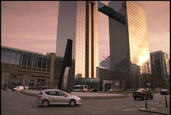 Traffic at Belgacom Tower Brussels Stock Footage