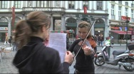 Stock Video Footage of European Street Violinist