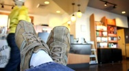 Relaxing at the Coffee Shop Stock Footage