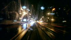 Tram Rear Window View Stock Footage