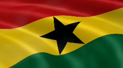 Ghana FlagInTheWind Stock Footage