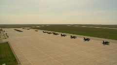 Military, aircraft lined up on ramp from tower Stock Footage