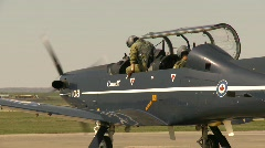 Military, pilots step out of Harvard-II trainer Aircraft Stock Footage