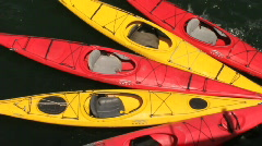 Kayaks, Red and Yellow Stock Footage
