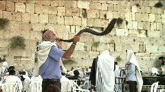 Western wall - Ram's horn (shofar) 3 - stock footage