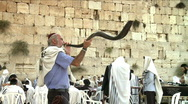 Stock Video Footage of Western wall - Ram's horn (shofar) 3