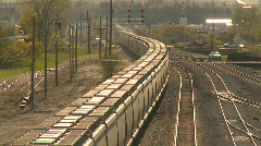 Railroad, Freight train, unit train, covered hoppers around curves Stock Footage