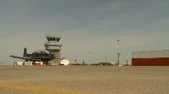 Military aircraft, Harvard-II taxi past ATC Stock Footage