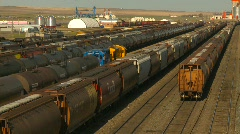 Railroad, railyards, small town Stock Footage