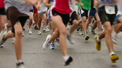 Marathon Runners at the Starting Line Stock Footage