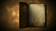 Very old gold magic book with flipping pages - stock footage