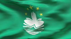 Creased MACAU flag in wind - slow motion Stock Footage