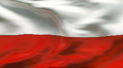 Creased POLAND flag in wind - slow motion Stock Footage