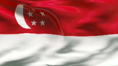 Creased SINGAPORE  flag in wind - slow motion - stock footage
