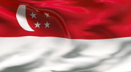 Stock Video Footage of Creased SINGAPORE  flag in wind - slow motion