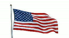 Creased usa flag in wind with alpha channel Stock Footage
