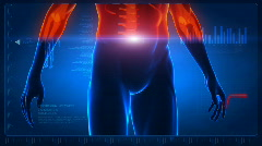 Human body scan - part 3 - back and abdomen Stock Footage