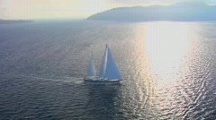 A beautiful aerial shot of a magnificent sailing Stock Footage