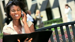 Young Businesswoman Working Outdoors Stock Footage