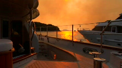 Croatian sunset from the aft deck of sailboat. - stock footage