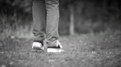 Girl walking on path Stock Footage