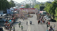 Marathon runners run at the Riga International Marathon Stock Footage