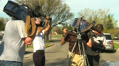 TV news crews covering event Stock Footage