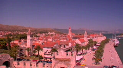 Aerial view of Trojir, Croatia's port and 1000 year old city. Stock Footage