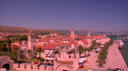 Stock Video Footage of Aerial view of Trojir, Croatia's port and 1000 year old city.