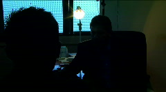 Police inspector and prisoner in the interrogation room at the District Jail Stock Footage