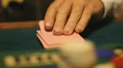 Shuffling playing cards - 8 - playing the deck and pulling cards Stock Footage