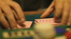 Shuffling playing cards - 10 - new deck ruffle and push shuffle - stock footage
