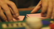 Stock Video Footage of Shuffling playing cards - 10 - new deck ruffle and push shuffle