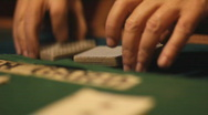 Shuffling playing cards - 3 - ruffle shuffle and then under over cuts Stock Footage