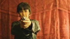 Sexy Brunette Deadly Vixen - 1 - shoot the camera man! - stock footage