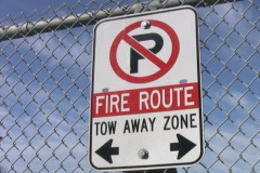 Fire route sign. No parking. Stock Footage
