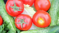 Vegetables on turning table Stock Footage