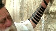 Western Wall - A Religious Man Prays  Stock Footage