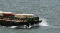 Tugboat and barge in high wind Stock Footage