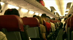 Air plane Cabin before takeoff - stock footage