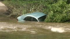 Blue car flood Stock Footage