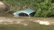 Stock Video Footage of blue car flood